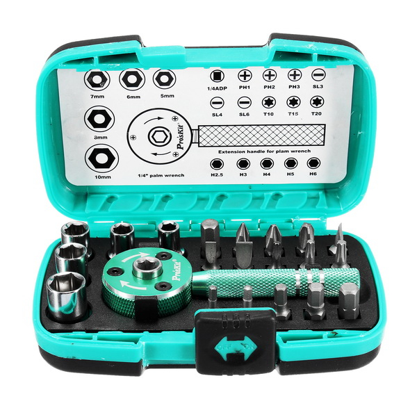 ProsKit 22 Pcs Palm Ratchet Wrench Bit Multi-functional Socket Set Mini Ratchet Tools